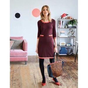 Boden Gloria Ponte Sheath Dress Dark Red 6 LONG